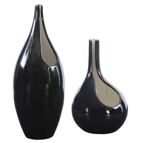 Lockwood Glossy Black Vases, Set of 2