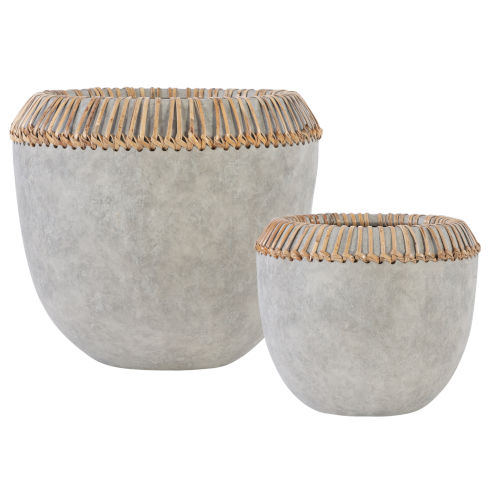 Aponi Gray Concrete Ray Bowls, Set of 2