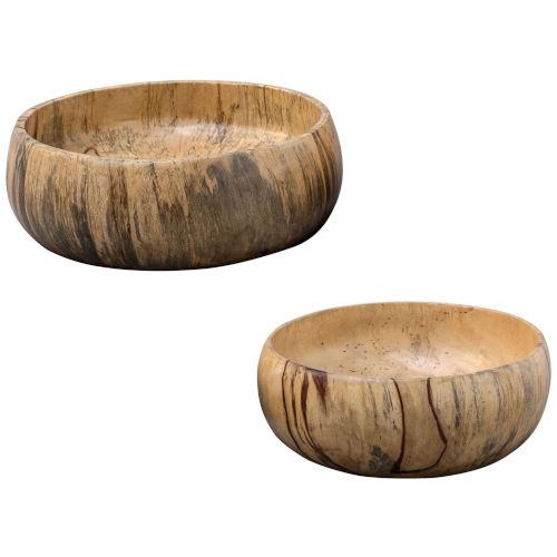 Tamarind Wood and Gray Bowl, Set of 2