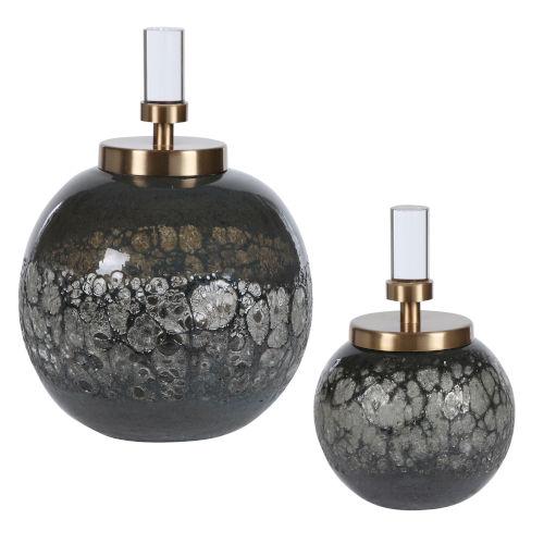 Cessair Blue and Gray Art Glass Bottles, Set of 2