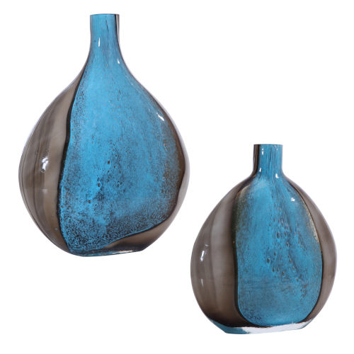 Adrie Deep Cobalt and Black Vases, Set of 2
