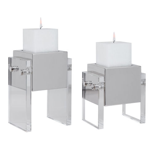 Sutton Distressed White Square Candle Holder, Set of 2