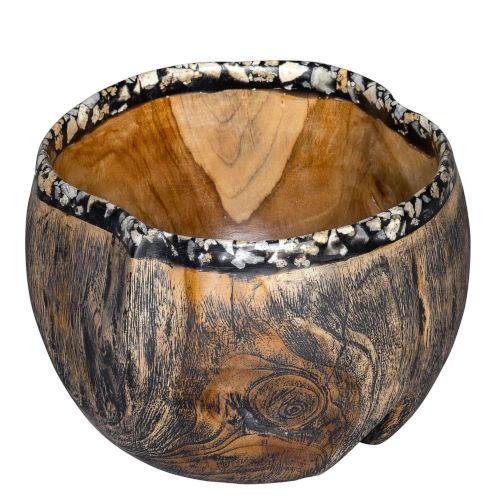 Chikasha Wood, Black and White 10-Inch Bowl