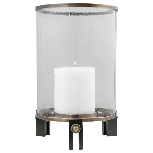 Faraday Antique Brushed Brass and Aged Black Hurricane Candleholder