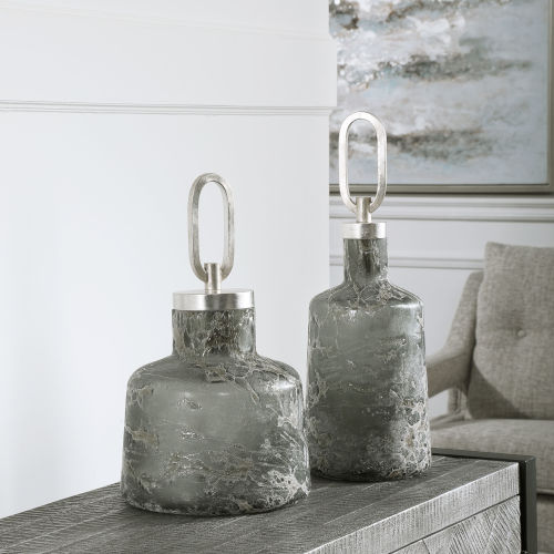 Storm Gray and Silver Storm Art Glass Bottles, Set of 2
