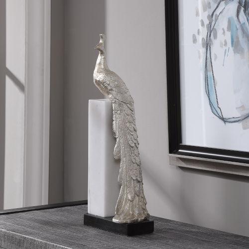 Overseer Silver and Black Overseer Peacock Sculpture