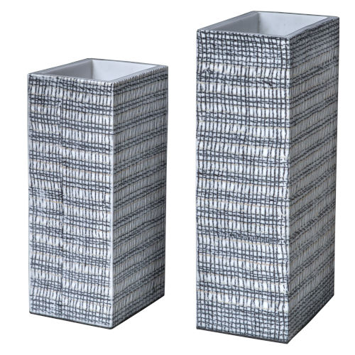 Nomad Black and White Rectangular Vases, Set of 2