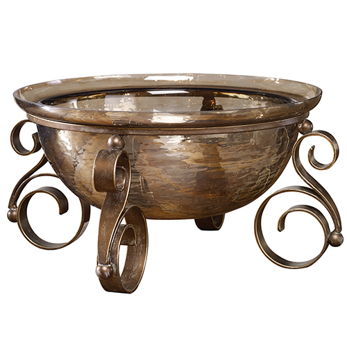 Alya Brown and Gold Decorative Bowl