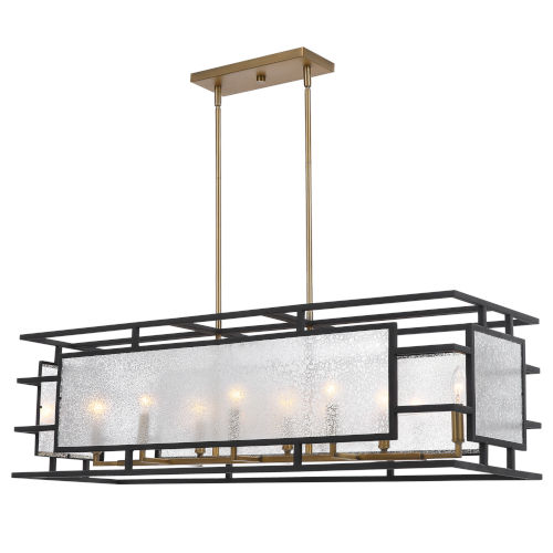 Holmes Black and Antique Brass Eight-Light Chandelier