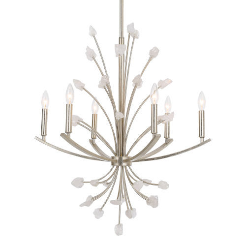 Juliette Antiqued Bright Silver Leaf Six-Light Chandelier