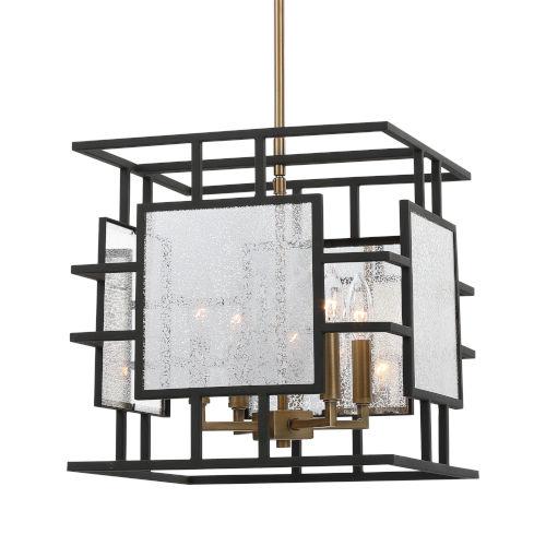 Holmes Black and Antique Brass Four-Light Pendant