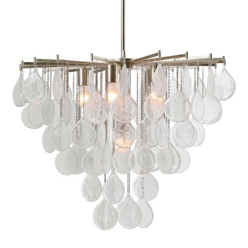 Goccia Antiqued Bright Silver Leaf Six-Light Pendant