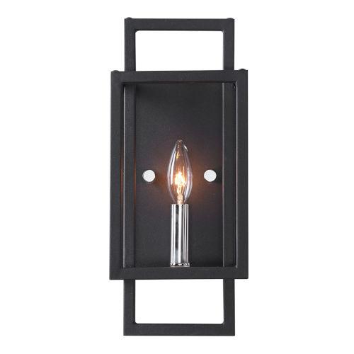 Quadrangle Black and Polished Nickel One-Light Wall Sconce