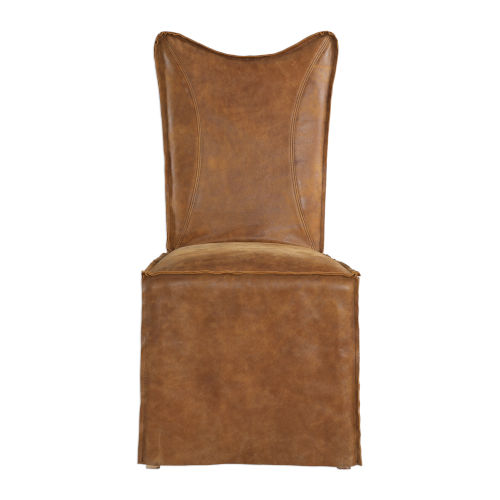 Delroy Cognac Armless Chair, Set of 2