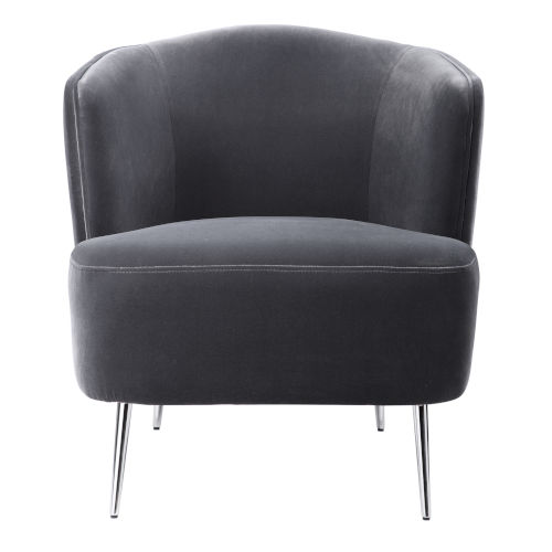 Alboran Charcoal Gray with Polished Nickel Accent Chair