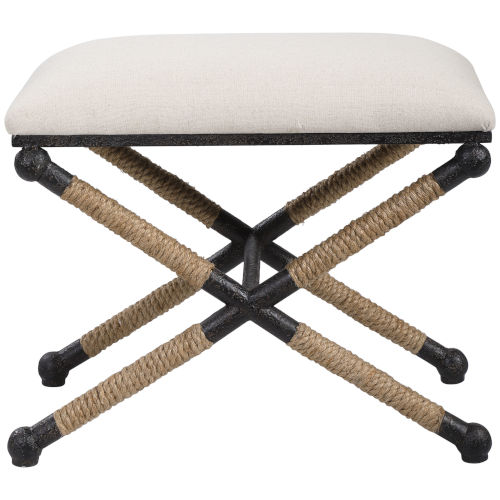 Firth Brown, White and Black 24-Inch Small Bench