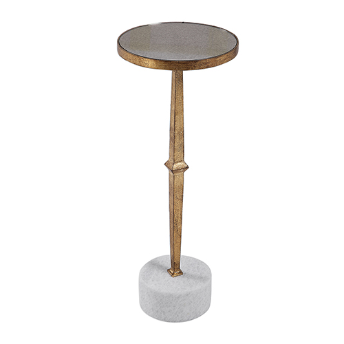 Uttermost Miriam Gold and White Accent Table