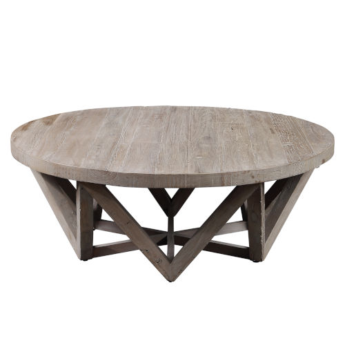 Kendry Wood 48-Inch Round Coffee Table