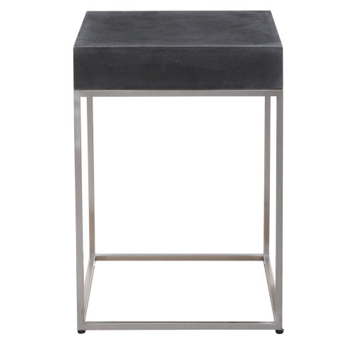 Jase Black 14-Inch Concrete Accent Table