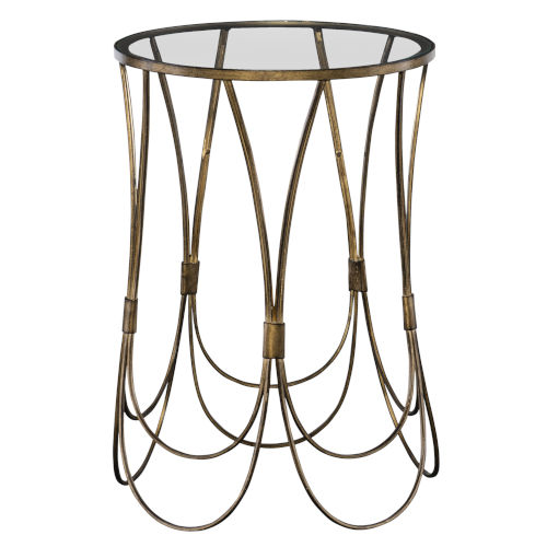 Kalindra Gold 16-Inch Round Accent Table