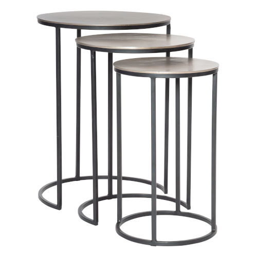 Erik Antique Nickel Nesting Tables, Set of 3
