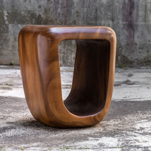Loophole Brown Wooden Accent Stool
