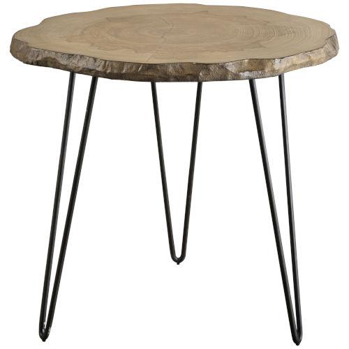 Runay Aged Black and Brown Wood Slab Side Table