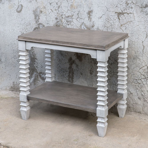 Calypso Gray and White Side Table