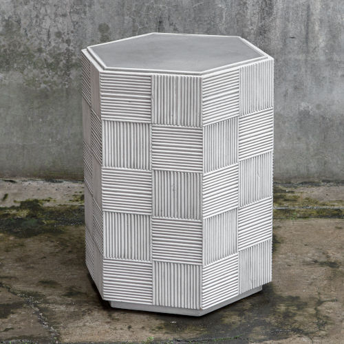 Silo White and Gray Hexagonal Accent Table