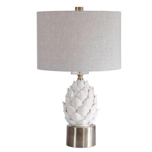 White Brushed Antique Brass Table Lamp with White Ceramic Artichoke