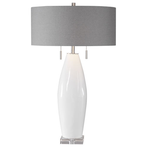 Laurie White Ceramic 2-Light Table Lamp