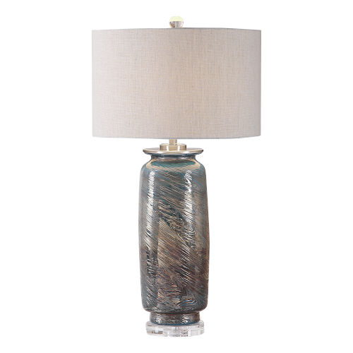 Olesya Brushed Nickel Swirl Glass Table Lamp
