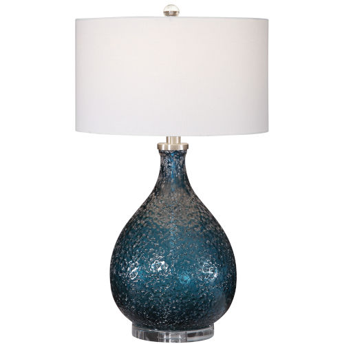 Eline Brushed Nickel and Blue Glass Table Lamp