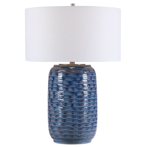 Sedna Blue and Brushed Nickel One-Light Table Lamp with Round Hardback Drum Shade