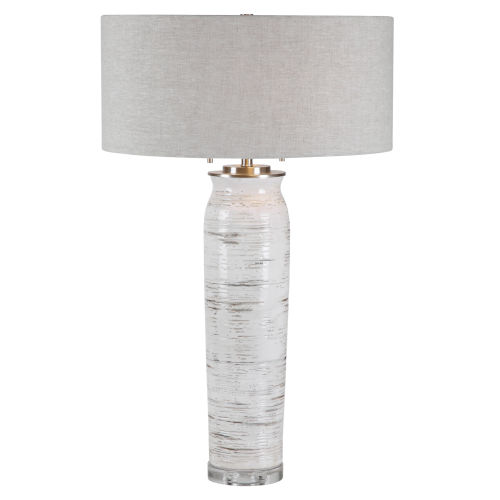 Lenta Off-White Two-Light Table Lamp with Round Hardback Drum Shade