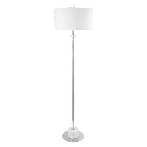 Magnus White and Light Gray One-Light Floor Lamp with Round Drum Hardback Shade