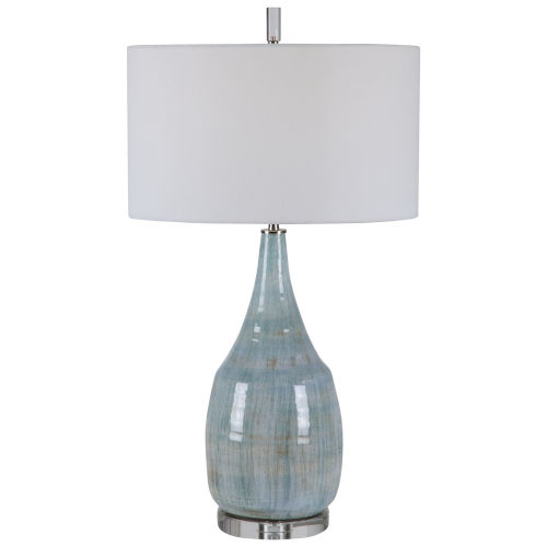 Rialta Aqua and Teal Crackle Glaze One-Light Table Lamp with Drum Hardback Rolled Edge Shade