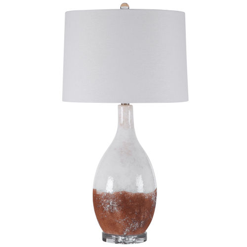 Durango Earthy Terracotta Rust and White Glaze One-Light Table Lamp with Round Hardback Shade