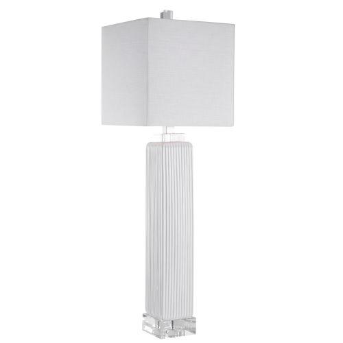 Bennett Gloss White Glaze One-Light Buffet Lamp with Square Hardback Shade