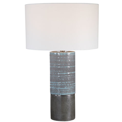 Prova Aqua Blue and Gray One-Light Textured Table Lamp