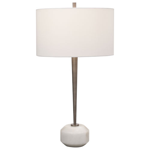 Danes Black Nickel and White One-Light Table Lamp
