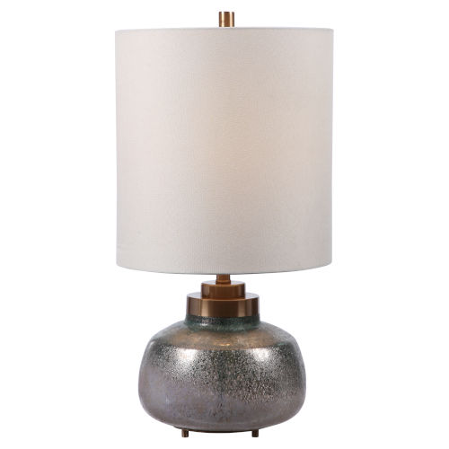 Catrine Gray and Brushed Nickel One-Light Buffet Lamp with Round Hardback Shade and Linning Background