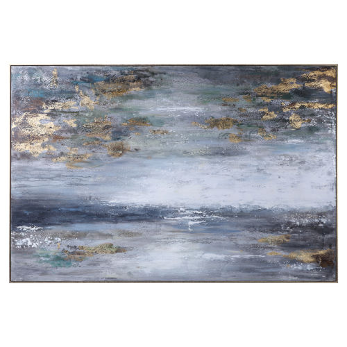 Dawn to Dusk Gray, White, Blue, Green and Gold Leaf Hand Painted Art