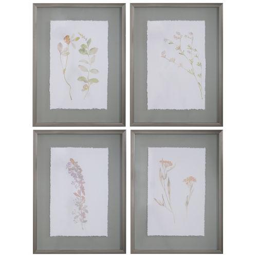 Flourish Gray Framed Botanical Floral Art