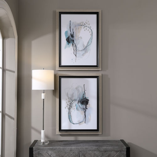 Force Reaction Gray and Blue Abstract Prints, Set of 2