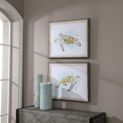 Sea Turtle Study White Watercolor Prints, Set of 2