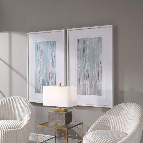 Pandoras Forest White Abstract Art, Set of 2