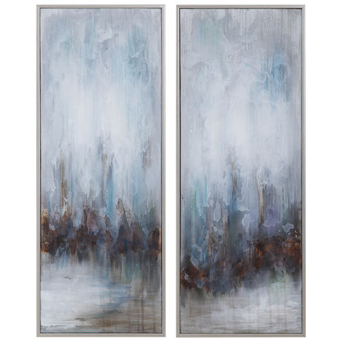 Rainy Days Blue, White, Gray, Silver and Bronze Abstract Art, Set of 2