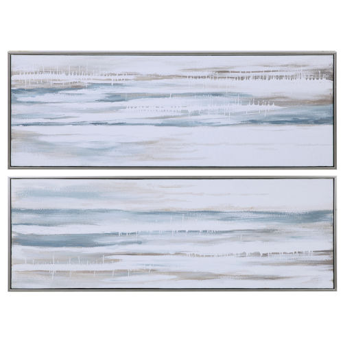 Drifting Blue, White, Gray and Brown Abstract Landscape Art, Set of 2