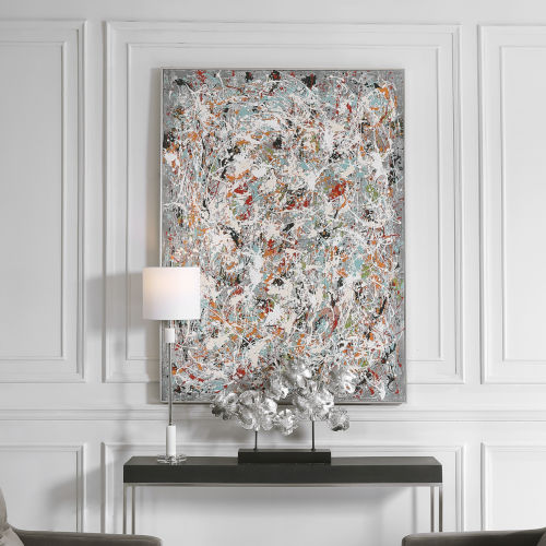 Organized Chaos Dark Gray Hand Painted Canvas